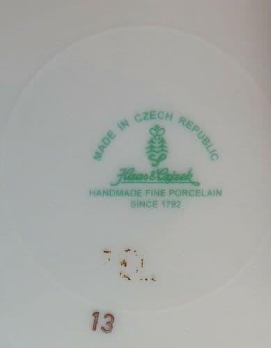 2 Czech porcelain side plates Haas-Czjzek cobalt blue shield gold rim 8